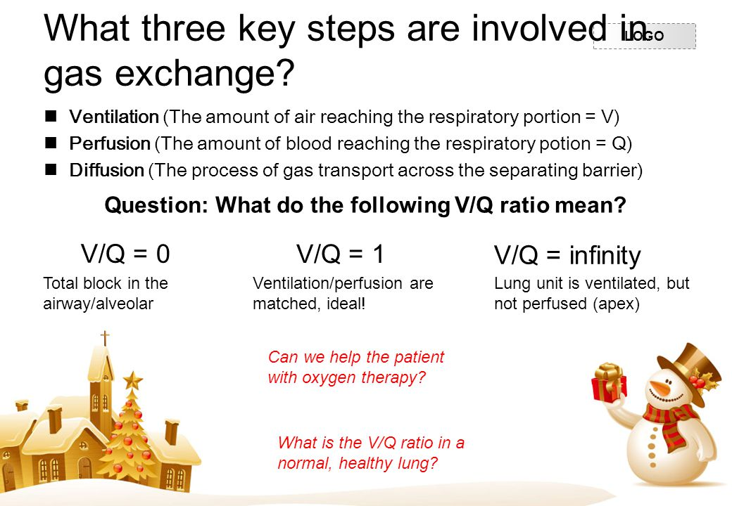 What three key steps are involved in gas exchange