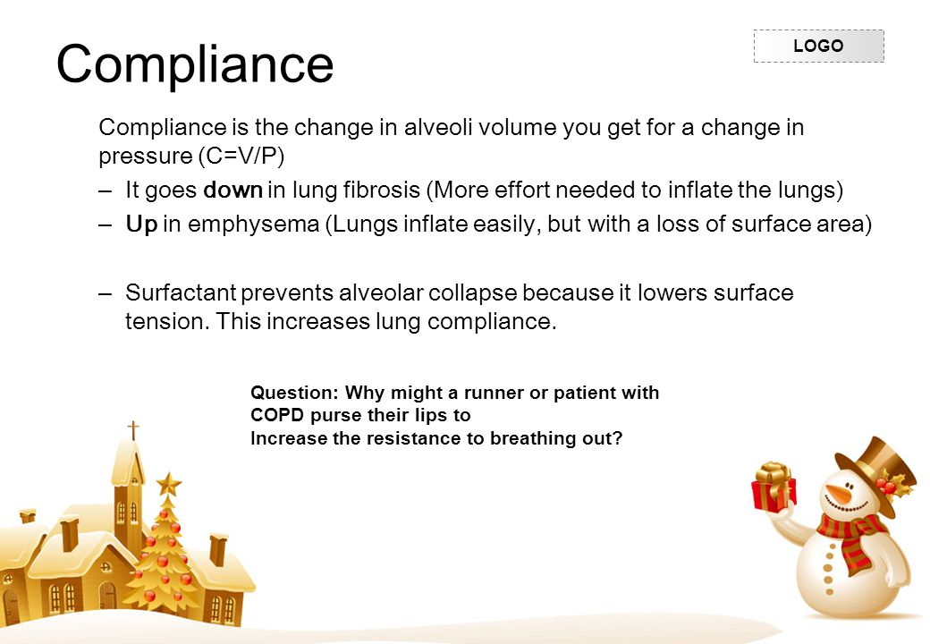Compliance Compliance is the change in alveoli volume you get for a change in pressure (C=V/P)