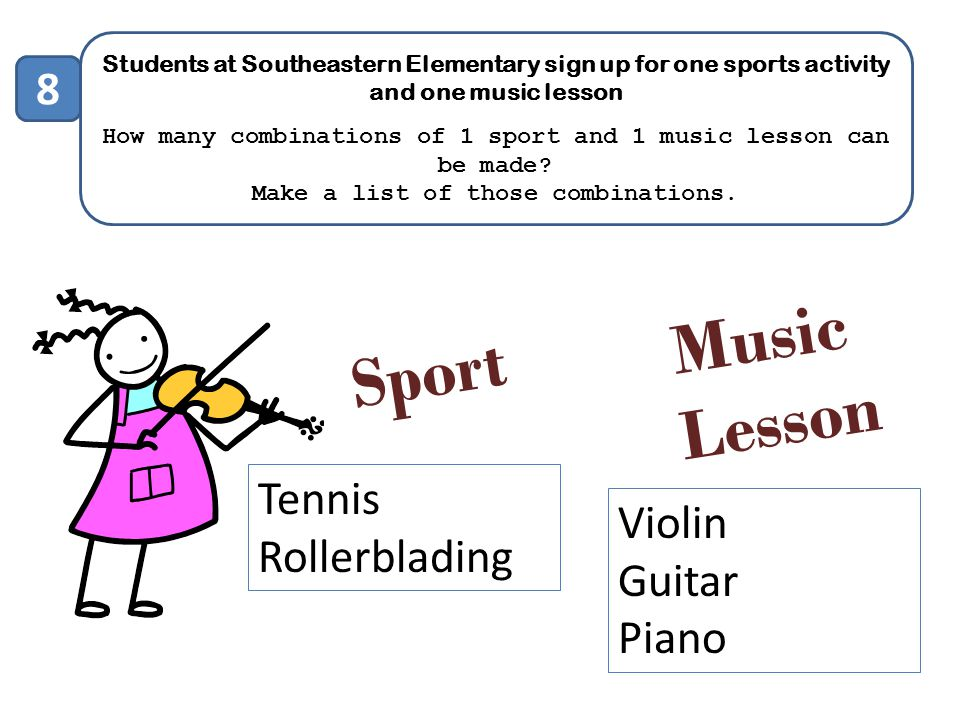 Music Sport Lesson 8 Tennis Violin Rollerblading Guitar Piano
