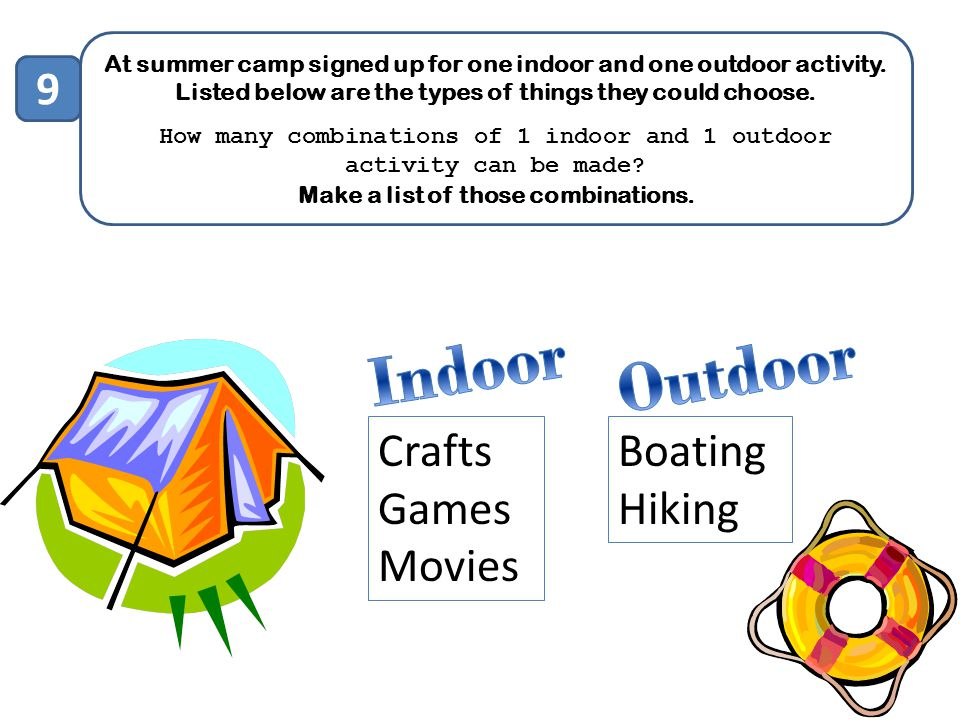 Indoor Outdoor 9 Crafts Games Movies Boating Hiking