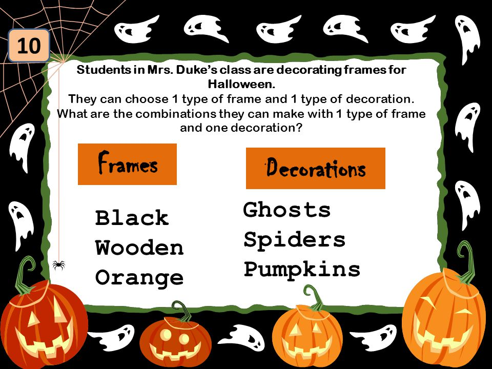 Students in Mrs. Duke's class are decorating frames for Halloween.