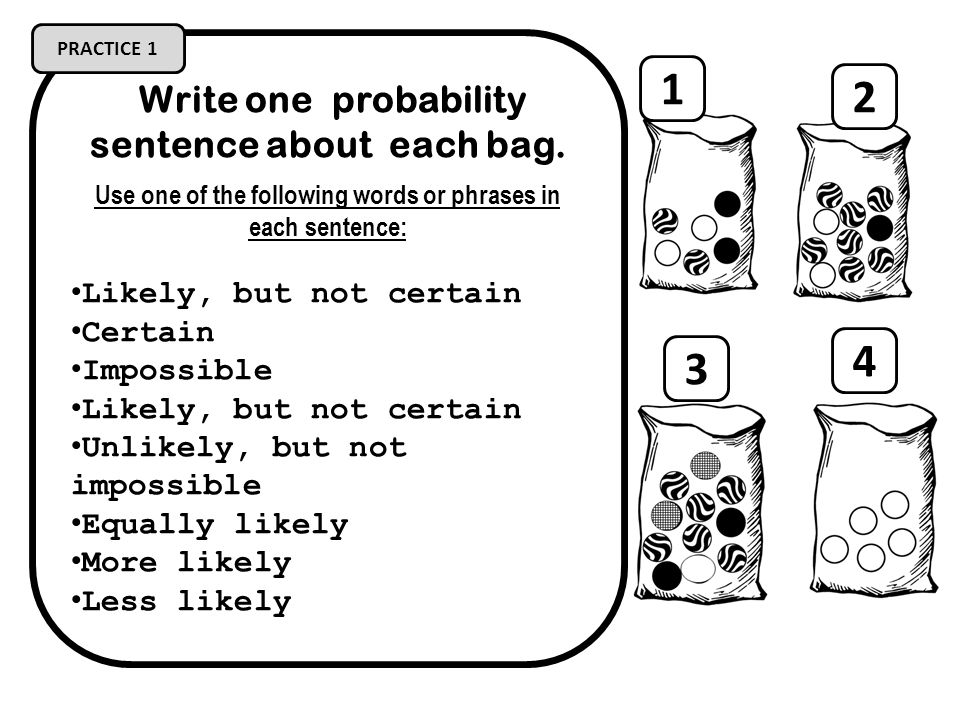1 2 4 3 Write one probability sentence about each bag.
