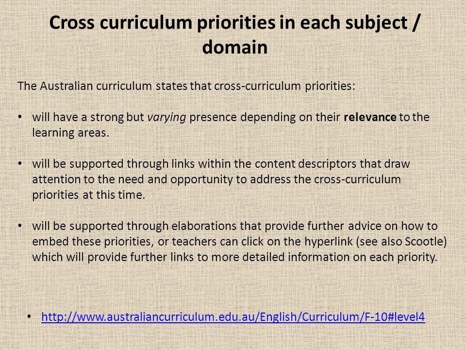 Cross curriculum priorities in each subject / domain