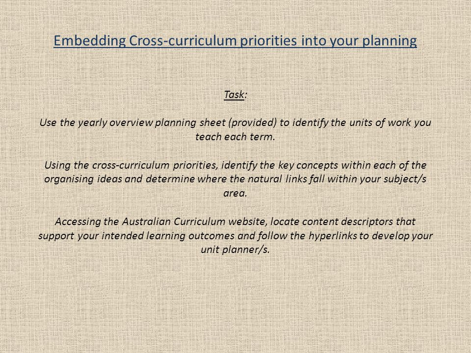 Embedding Cross-curriculum priorities into your planning