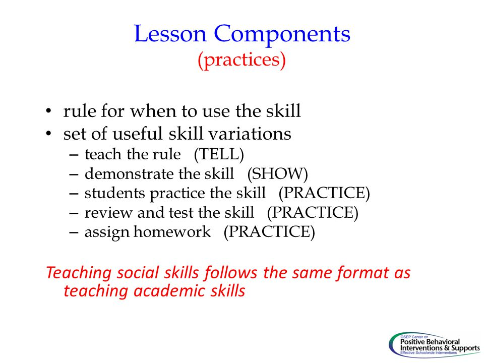 Lesson Components (practices)