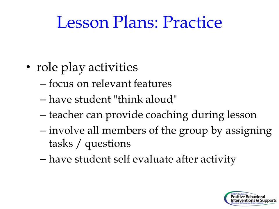 Lesson Plans: Practice