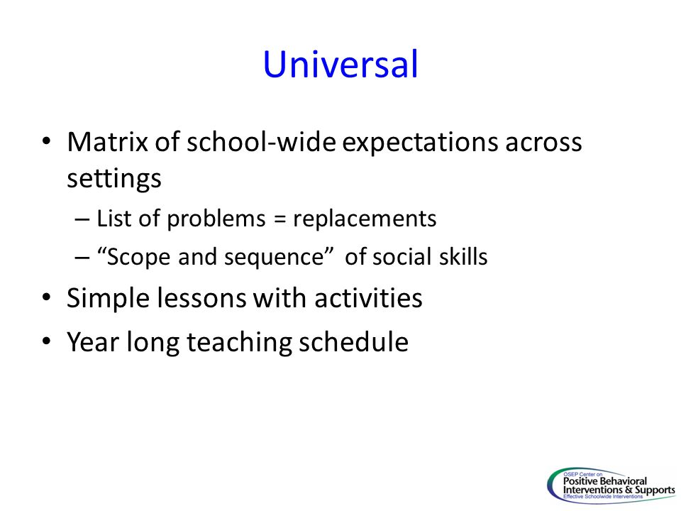 Universal Matrix of school-wide expectations across settings