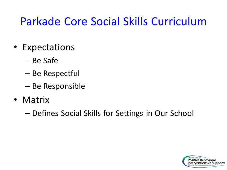 Parkade Core Social Skills Curriculum