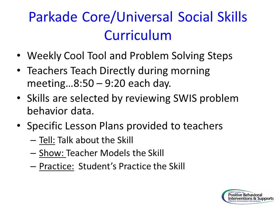 Parkade Core/Universal Social Skills Curriculum