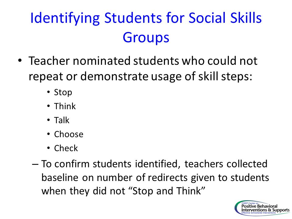 Identifying Students for Social Skills Groups