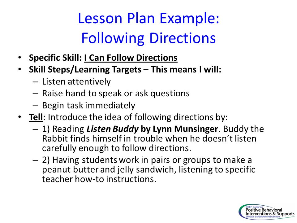 Lesson Plan Example: Following Directions