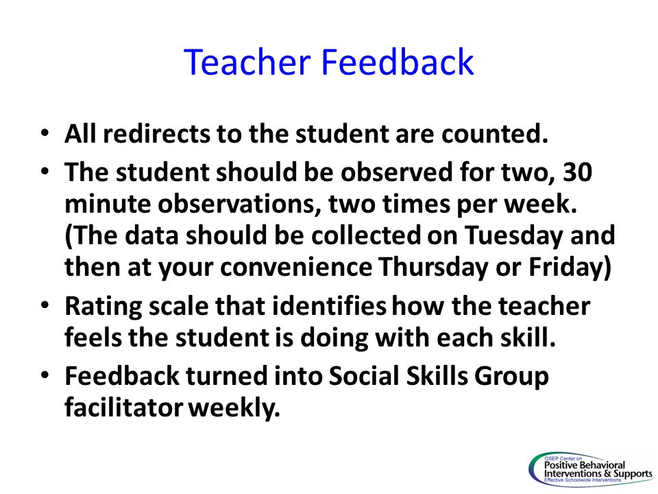 Teacher Feedback All redirects to the student are counted.