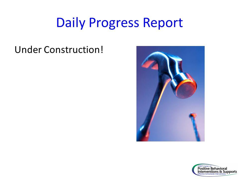 Daily Progress Report Under Construction! Linda