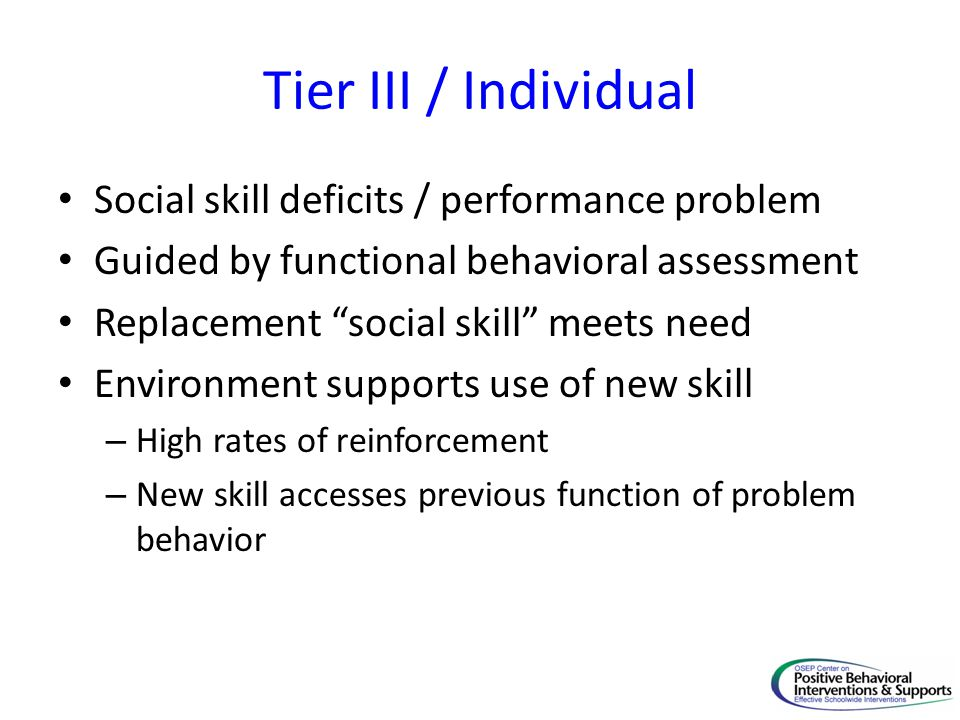 Tier III / Individual Social skill deficits / performance problem