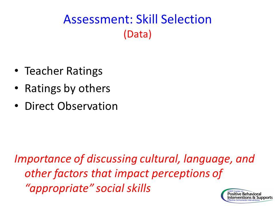 Assessment: Skill Selection (Data)