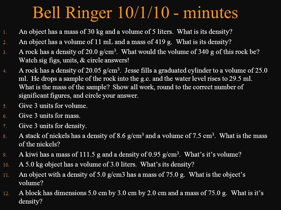 Bell Ringer 10/1/10 - minutes