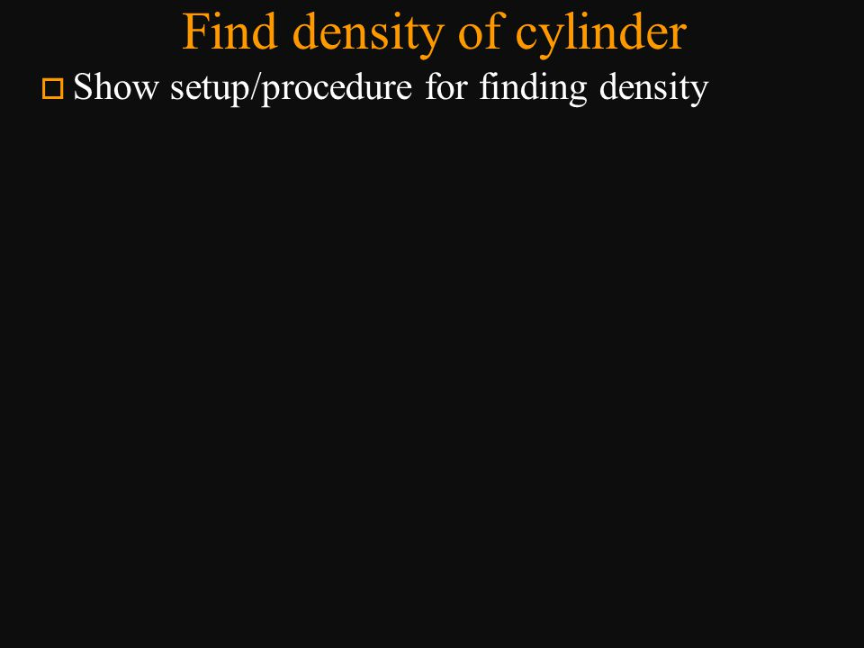 Find density of cylinder