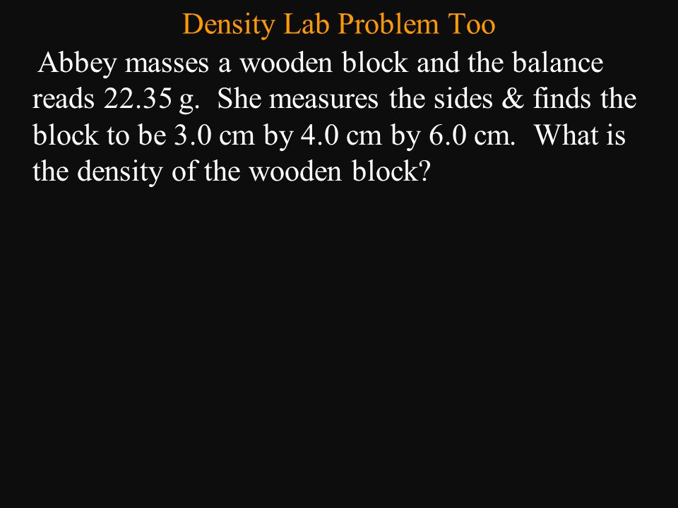 Density Lab Problem Too