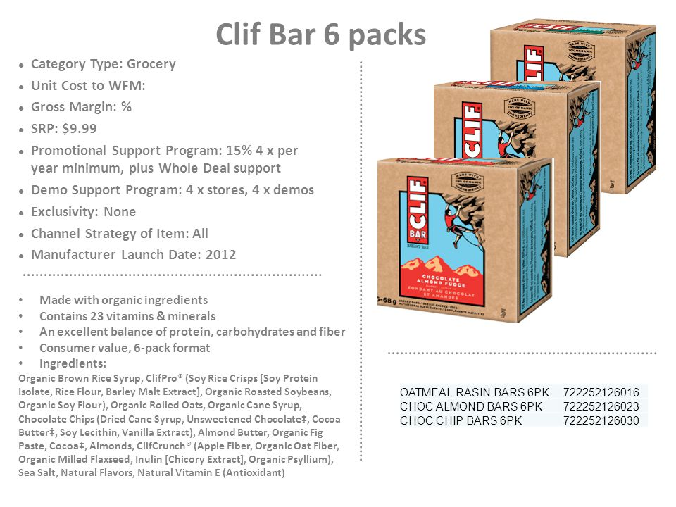 Clif Bar 6 packs Category Type: Grocery Unit Cost to WFM: