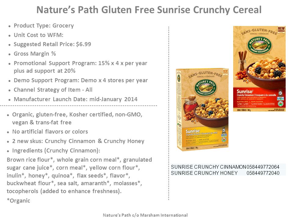 Nature's Path Gluten Free Sunrise Crunchy Cereal
