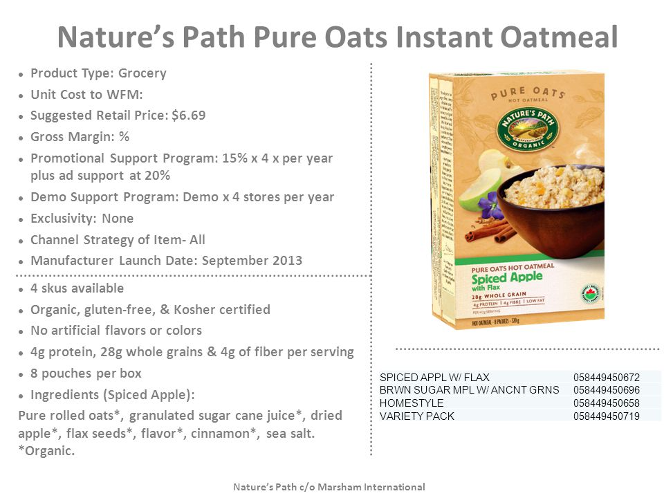 Nature's Path Pure Oats Instant Oatmeal
