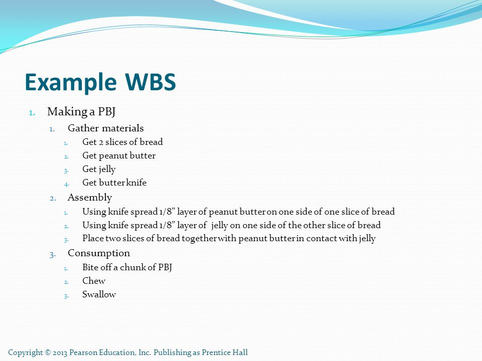 Example WBS Making a PBJ Gather materials Assembly Consumption