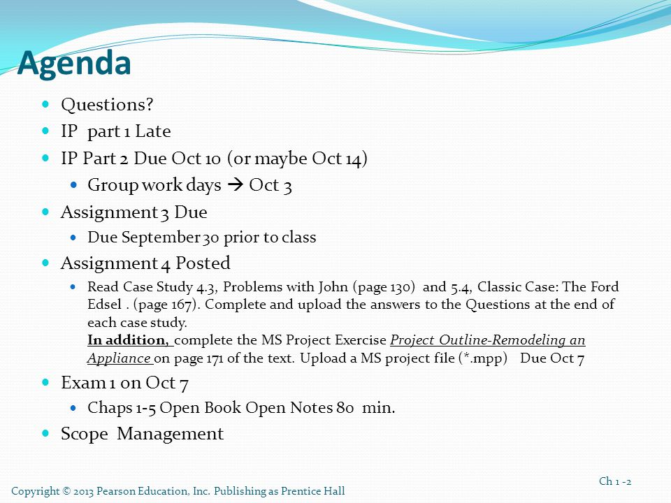 Agenda Questions IP part 1 Late