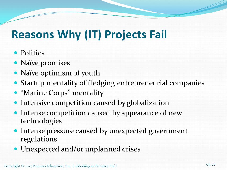 Reasons Why (IT) Projects Fail