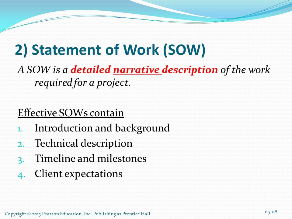 2) Statement of Work (SOW)