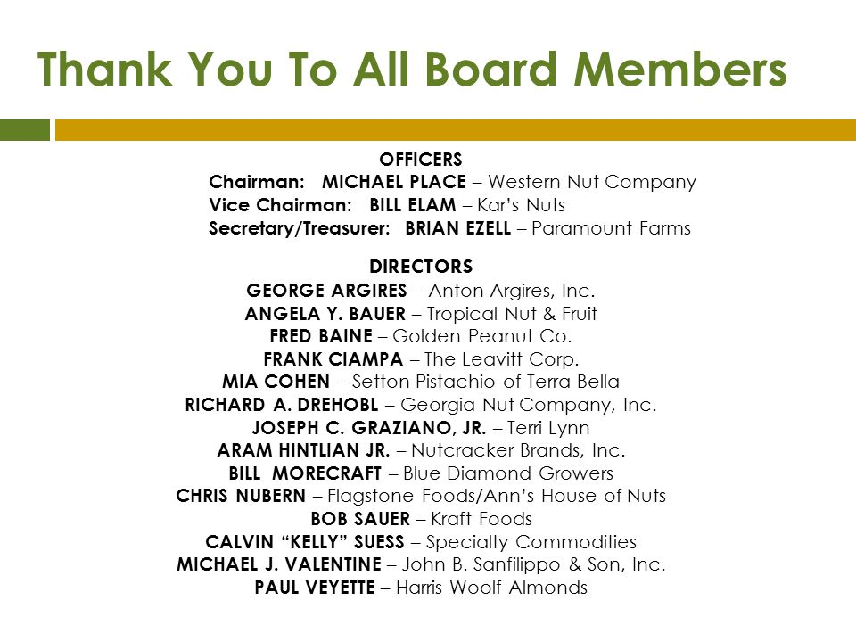 Thank You To All Board Members