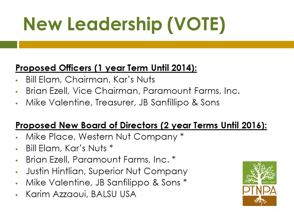New Leadership (VOTE) Proposed Officers (1 year Term Until 2014):