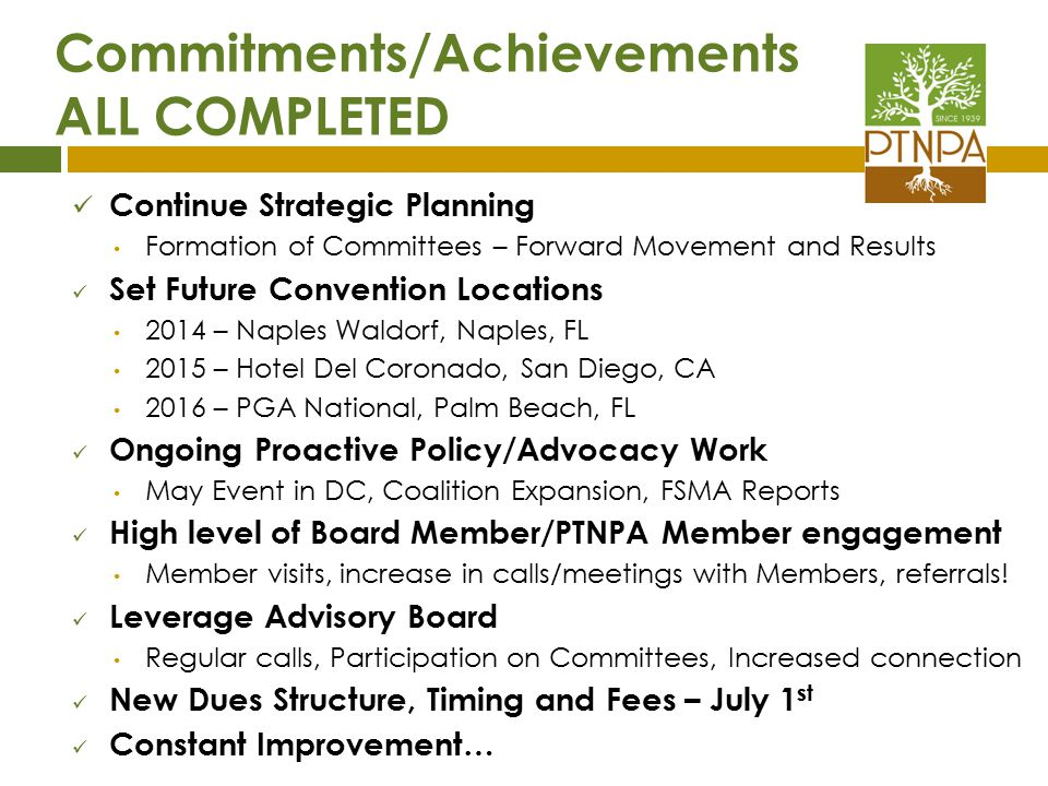 Commitments/Achievements ALL COMPLETED
