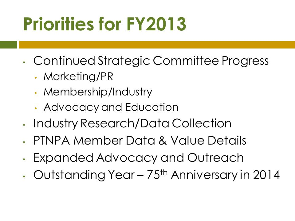 Priorities for FY2013 Continued Strategic Committee Progress
