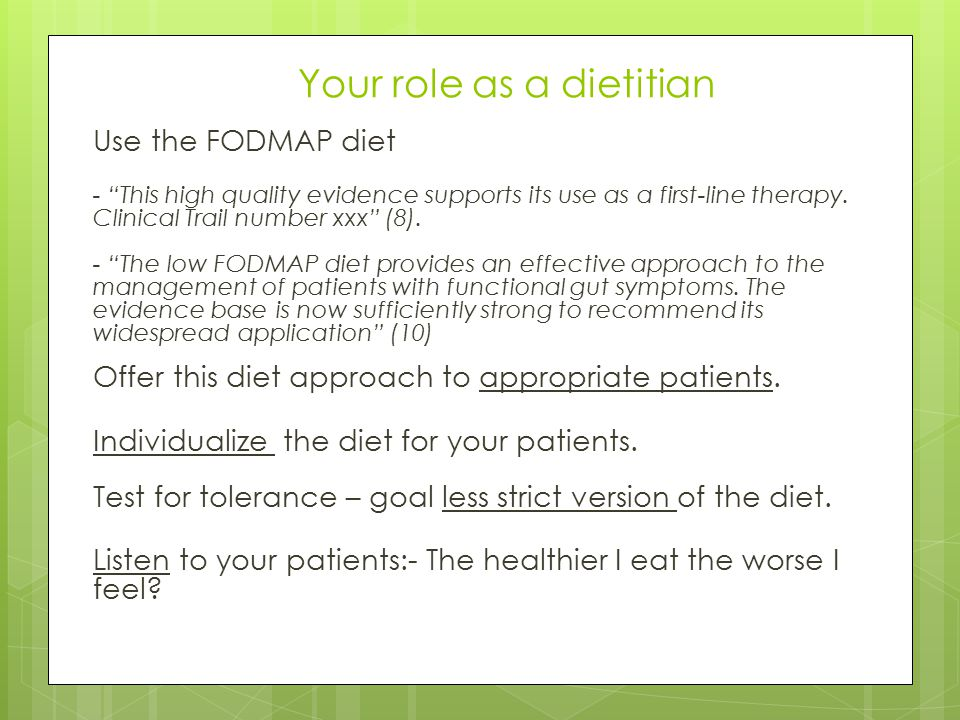 Your role as a dietitian