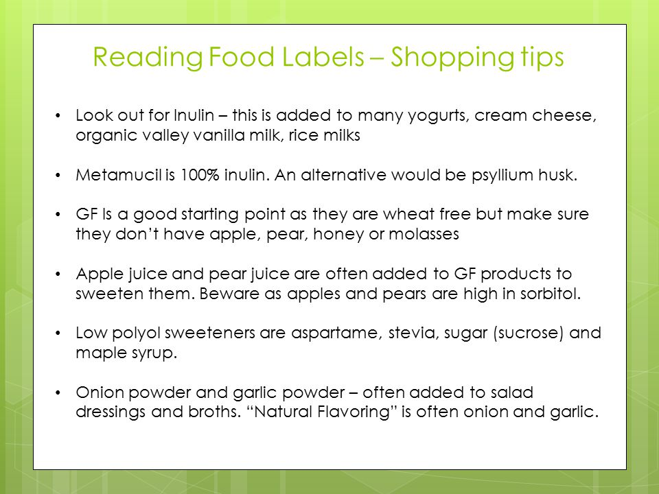 Reading Food Labels – Shopping tips
