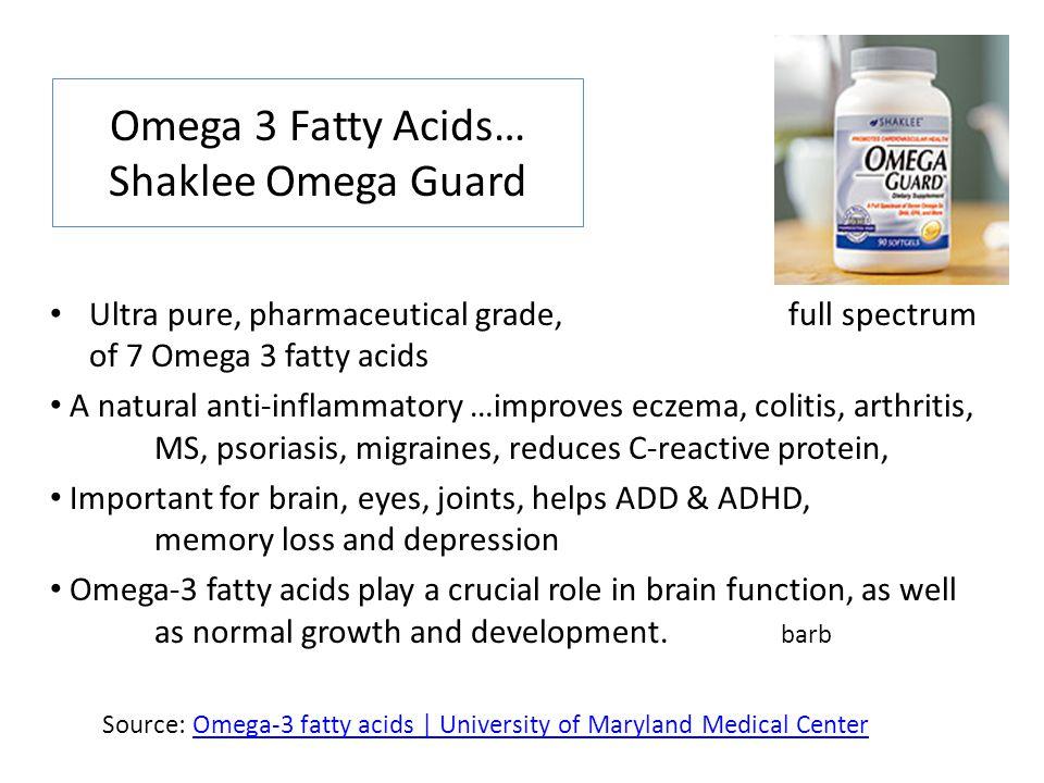 Omega 3 Fatty Acids… Shaklee Omega Guard