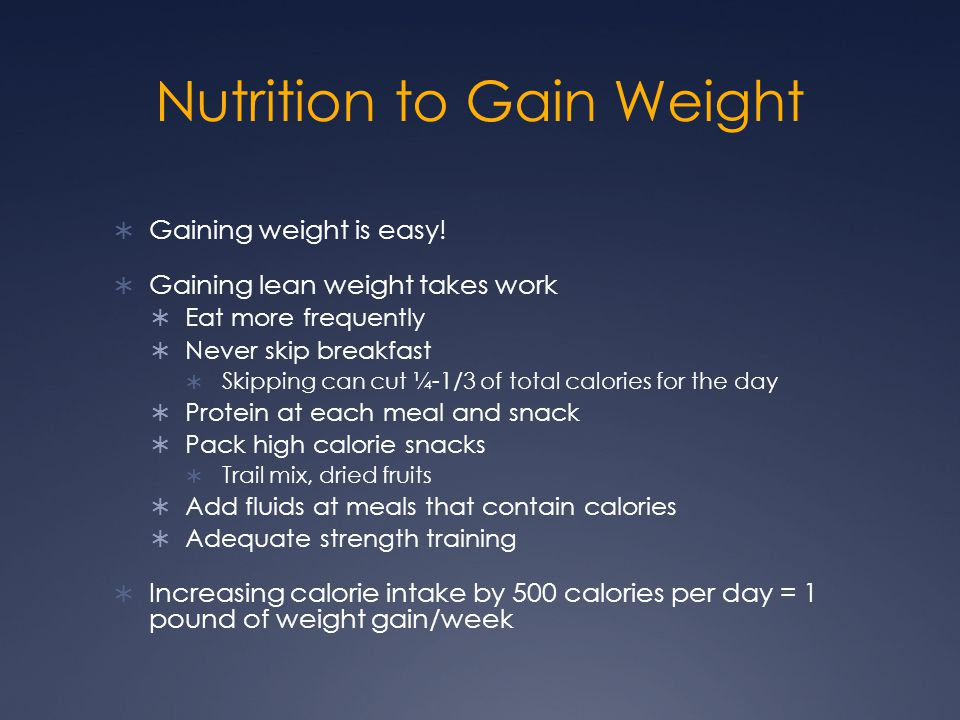 Nutrition to Gain Weight