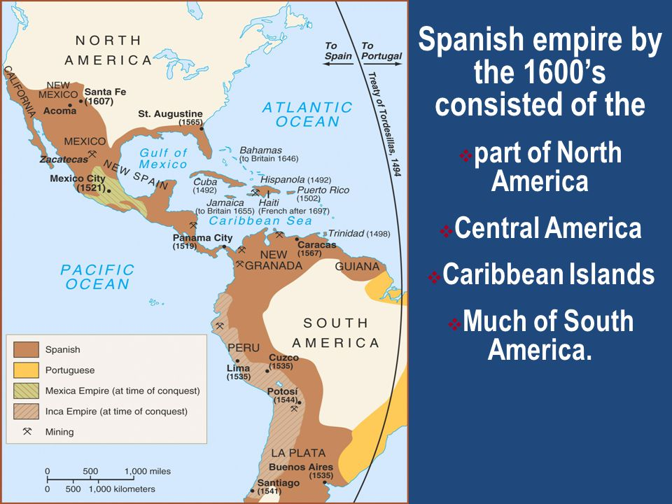 Spanish empire by the 1600's consisted of the