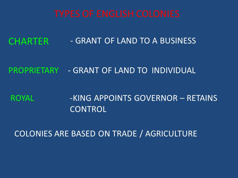 TYPES OF ENGLISH COLONIES
