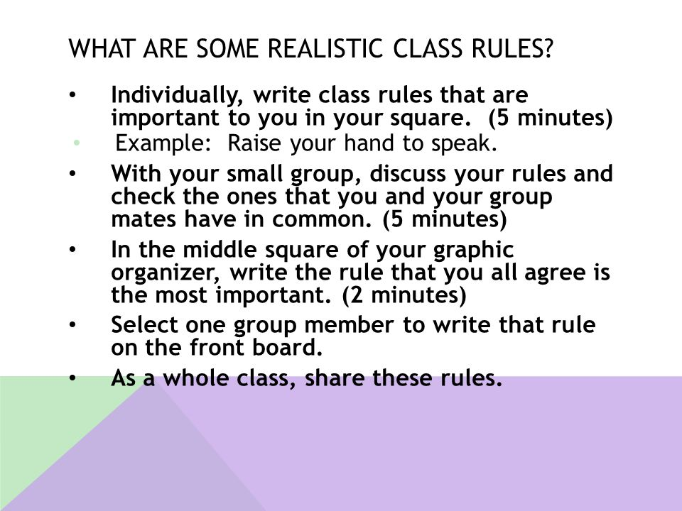 What are some realistic class rules