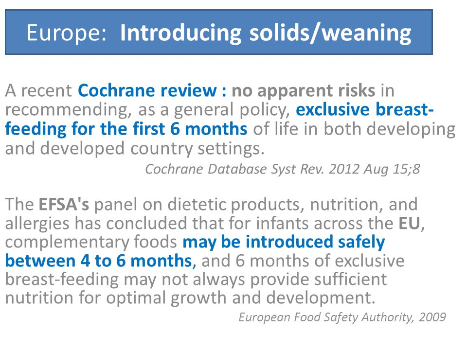 Europe: Introducing solids/weaning