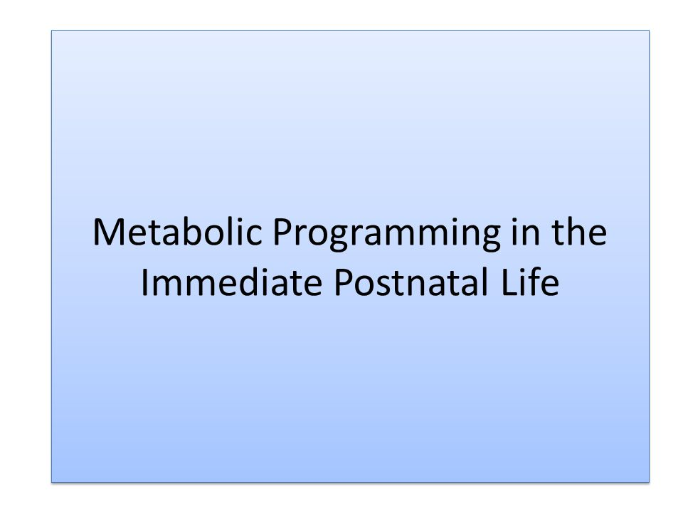 Metabolic Programming in the Immediate Postnatal Life