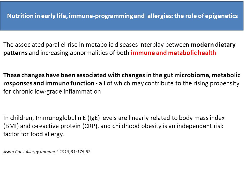 Nutrition in early life, immune-programming and allergies: the role of epigenetics