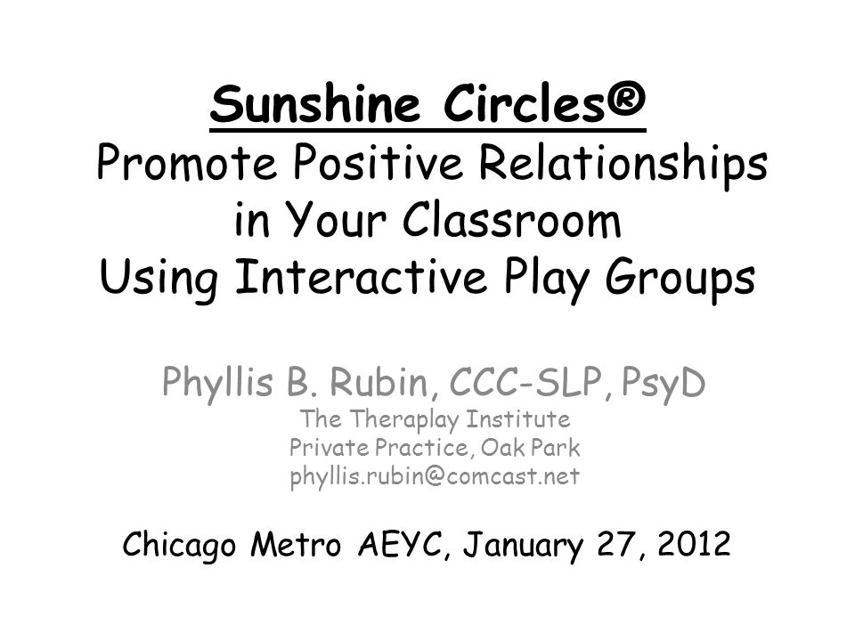 Sunshine Circles® Promote Positive Relationships in Your Classroom Using Interactive Play Groups