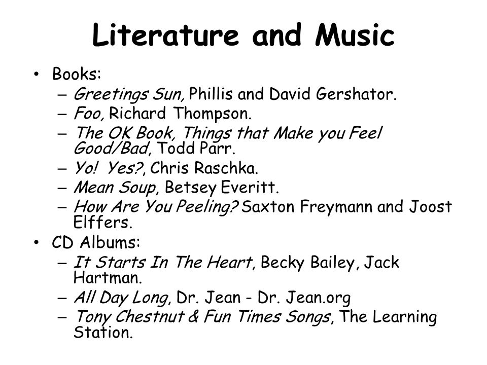 Literature and Music Books: CD Albums: