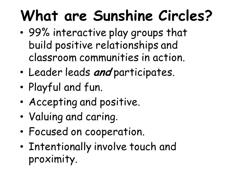 What are Sunshine Circles