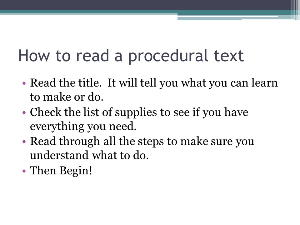 How to read a procedural text