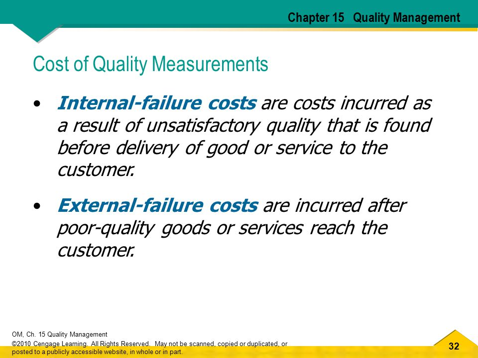 Cost of Quality Measurements
