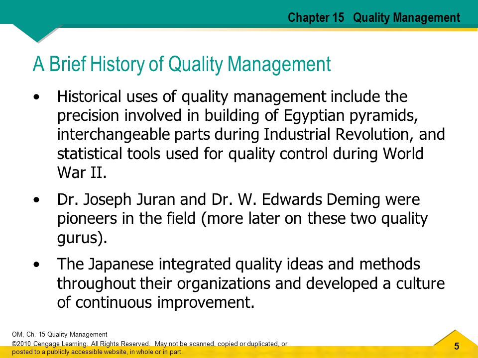 A Brief History of Quality Management