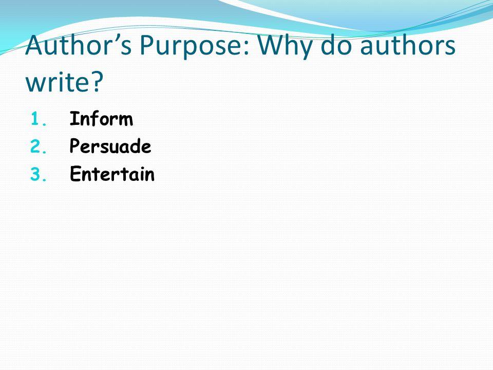 Author's Purpose: Why do authors write